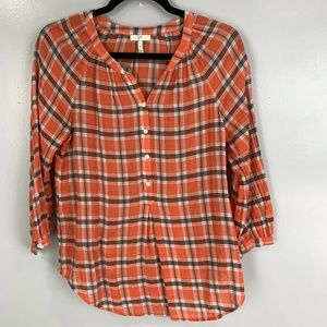 Joie Oversized 3/4 Sleeve Plaid Henley Top